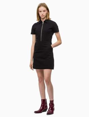 Calvin Klein solid zip front short sleeve dress