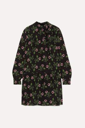 Valentino Pussy-bow Tiered Floral-print Silk Crepe De Chine Mini Dress - Black