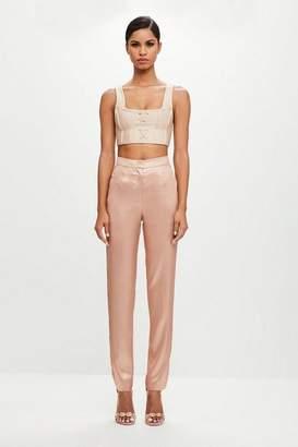 Missguided Blush Metallic Long Detail Pants