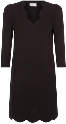 Claudie Pierlot V-Neck Scalloped Dress