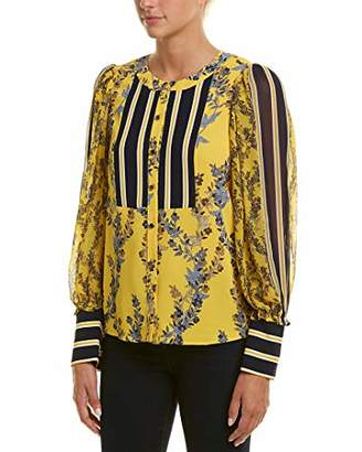 BCBGMAXAZRIA Women's Floral Stripe Button up Top