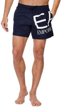 Giorgio Armani Emporio Navy Logo Print Swim Shorts