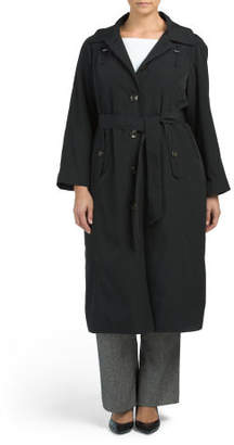 Plus Single Breasted Long Trench Coat