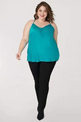 Marée Pour Toi Maree Pour Toi Teal Washed Silk Charmeuse Tank Top Size 12