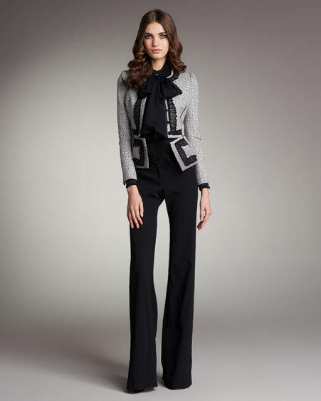 Zac Posen Tweed Peplum Jacket Chiffon Jabot Blouse & Boot-Cut Trousers