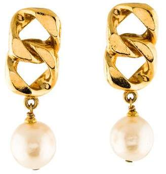 Chanel Chain-Link & Faux Pearl Drop Earrings