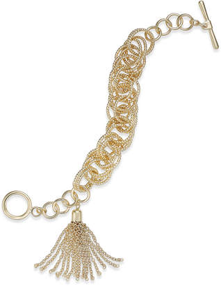 INC International Concepts I.n.c. Gold-Tone Multi-Ring & Chain Tassel Toggle Bracelet