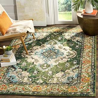 Safavieh Milà Woven Area Rug, Synthetic, Forest Green/Light Blue, 154 x 231 x 8.16 cm