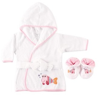 Luvable Friends Baby Woven Terry Bathrobe and Slippers, Pink Fish