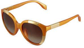 Alexander McQueen Round Two-Tone Plastic Sunglasses