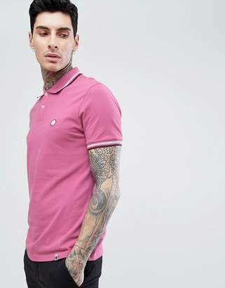 Pretty Green Slim Fit Twin Tipped Logo Polo In Pink