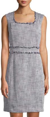 Karl Lagerfeld Paris Square-Neck Sleeveless Tweed Sheath Dress