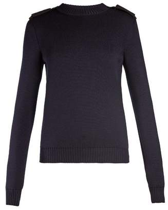 Saint Laurent Shoulder Epaulette Wool Sweater - Womens - Navy