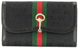 Gucci Pre-Owned GG pattern Web detail wallet