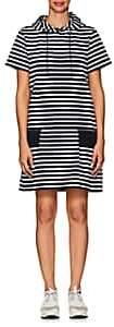 Sacai Women's Hooded Striped Cotton Jersey Sweaterdress-Navy, Wht