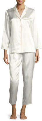 Neiman Marcus Satin Silk Two-Piece Pajama Set $175 thestylecure.com