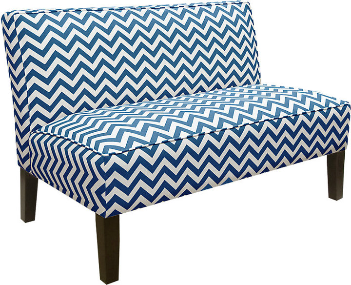 Rooms To Go Courtney View Navy/White Armless Chaise