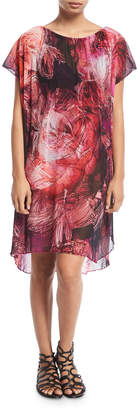 Fuzzi Tulle Floral-Print Coverup Dress