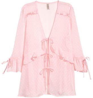 H&M V-neck Tie Blouse - Pink