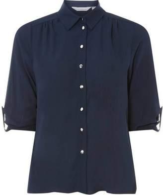 Dorothy Perkins Womens Petite Navy Roll Sleeve Shirt