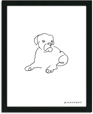 Personal Prints ''Boxer Line Drawing'' Framed Wall Art