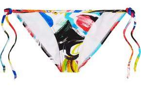 Norma Kamali Carmen Printed Low-Rise Triangle Bikini Briefs