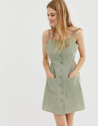 Asos DESIGN Button Through Linen Mini Sundress