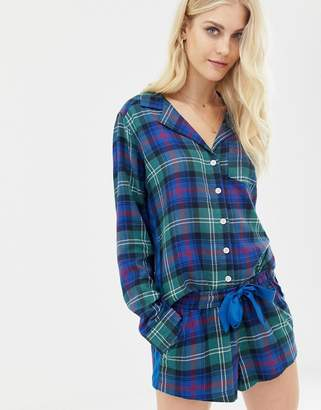 Abercrombie & Fitch pyjama shorts in plaid with side panel