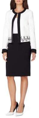 Tahari Arthur S. Levine Two-Piece Contrast Frame Embroidered Jacket Skirt Suit