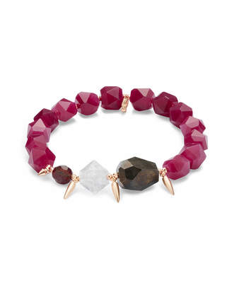 Kendra Scott Sadie Rose Gold Stretch Bracelet in Maroon Mix