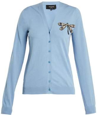 Rochas Dragonfly-appliqué cotton cardigan