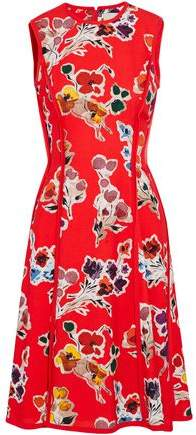 Frayed Georgette-Trimmed Floral-Print Crepe Dress