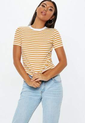 Missguided Mustard Striped Fitted T Shirt