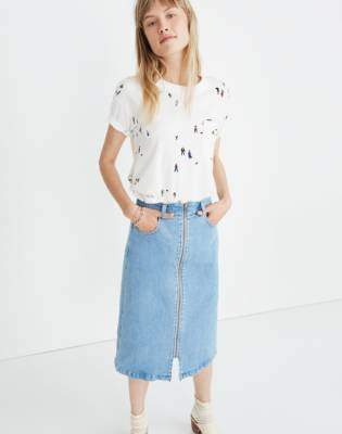 Madewell Denim Zip Midi Skirt in Janice Wash