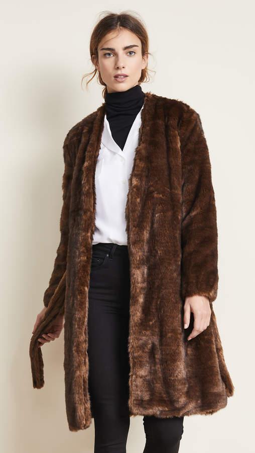 Faux Mink Robe Coat