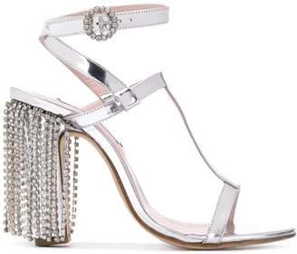 Leandra Medine T-strap sandals with rhinestones