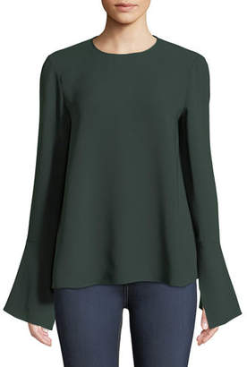 Lafayette 148 New York Jasmia Jewel-Neck Flared-Cuff Silk Georgette Blouse