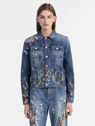 Calvin Klein paint splatter denim trucker jacket