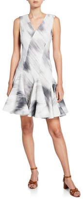 Josie Natori Textured Cotton V-Neck Sleeveless Dress w/ Seam Detail