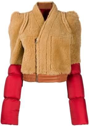 Rick Owens contrast shearling coat