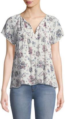 Joie Etaina B Short-Sleeve Floral-Print Silk Top