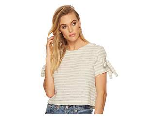 J.o.a. Printed Short Sleeve Top with Tie Sleeve Detail Women's Clothing
