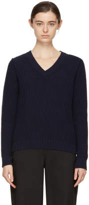 A.P.C. Navy Happy V-Neck Sweater