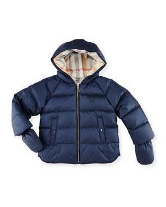 Burberry Rilla Hooded Raglan Puffer Jacket, Navy, Size 6M-3Y