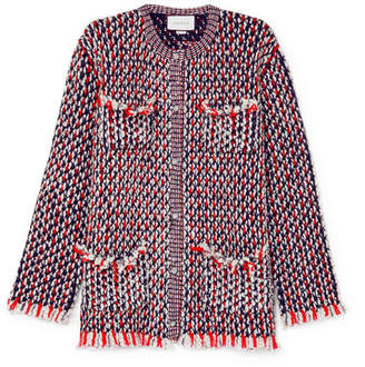 Gucci Crystal-embellished Wool-blend Bouclé-tweed Jacket - Red