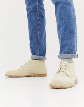 Selected suede desert boot with teddy lining