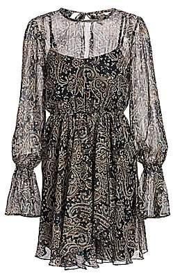 Joie Women's Manning Sheer Paisley Popover Flare Dress