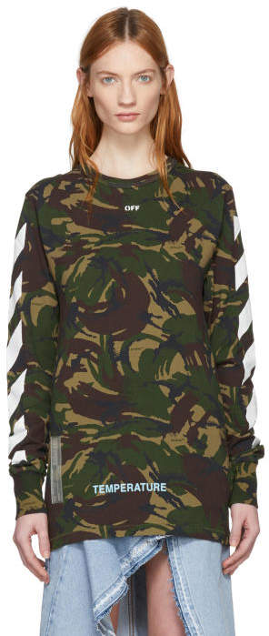 Off-White Green Camouflage Diagonal T-Shirt