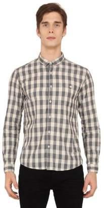 Voi Jeans New Mens Designer Slim Fit Check Shirt Grey White VOSH1018