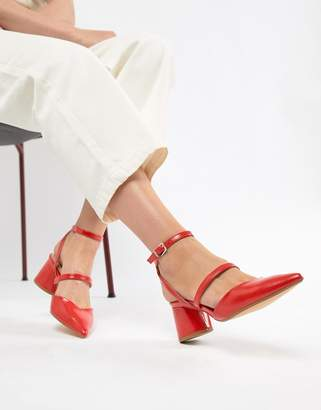Bershka multi strap block shoe in red